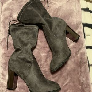 WORN ONCE - Grey Faux Suede Booties